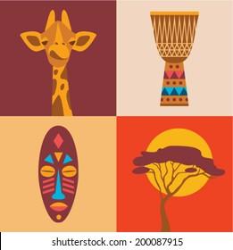 Vector illustration icon set of Africa: giraffe, drum, tribal mask, tree