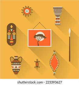 Vector illustration icon set of Africa: mask, decoration, drum, picture, vase, lizard, shield, spear