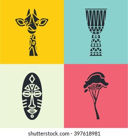 Vector illustration icon set of Africa