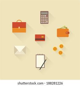 Vector illustration icon set of business: money, card, calculator, portfolio, message, notebook