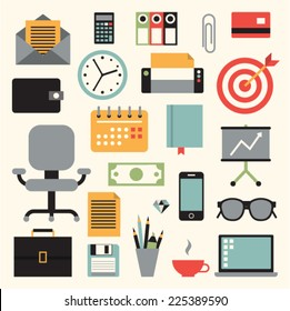 Vector illustration icon set of business: envelope, calculator, document, credit card, wallet, watch, printer, target, chair, calendar, book, chart, briefcase, money, phone, pencil, glasses, computer