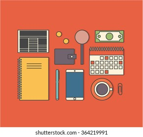 Vector illustration icon set business