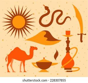 Vector illustration icon set of desert sun, snake, knife, landscape, camel, magic, hookah