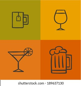 Vector illustration icon set of drink: tea, wine, martini, beer