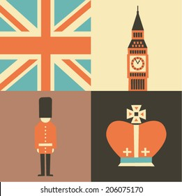 Vector illustration icon set of England, London, Flag, Big Ben, Guard, Crown