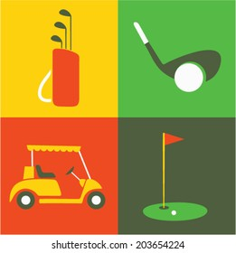 Vector illustration icon set of golf, club, ball, car, field