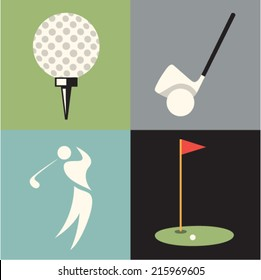 Vector illustration icon set of golf