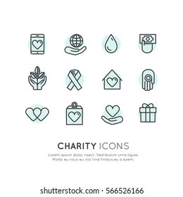 Vector Illustration Icon Set of Graphic Elements for Nonprofit Organizations and Donation Centre. Fundraising Symbols. Crowdfunding Project Label. Charity Logo