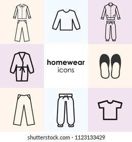 vector illustration of icon set with home clothes and nightwear and including pyjamas homesuits and slippers