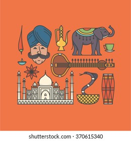 Vector illustration icon set of India