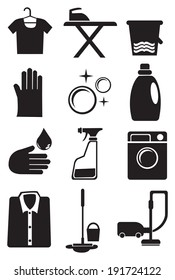 Vector illustration of icon set for laundry and cleaning services