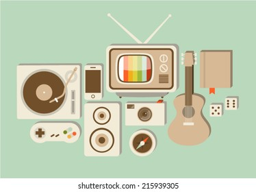 Vector illustration icon set of lifestyle: turntable, game joystick, speaker, phone, photo camera, TV, compass, guitar, book, dice