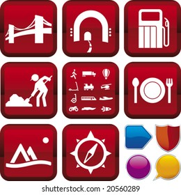 Vector illustration of icon set: on the road, and buttons. Only global colors. CMYK. Easy color changes.