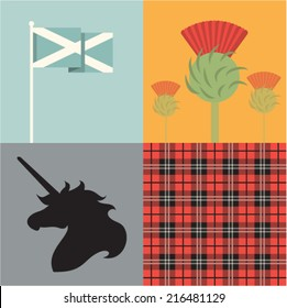 Vector illustration icon set of Scotland: flag, flower, unicorn, tartan