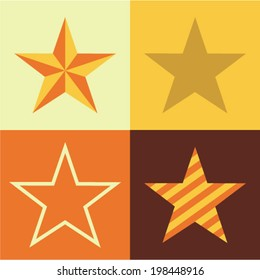 Vector illustration icon set of star