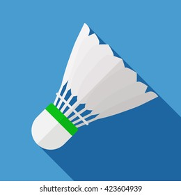 Vector illustration. Icon of toy shuttlecock for badminton from bird feathers in flat design with shadow effect