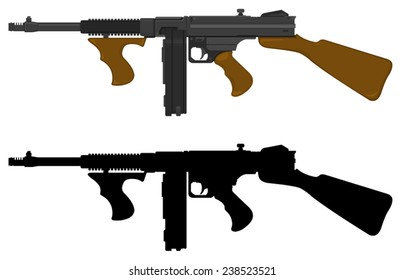 A vector illustration of the iconic Tommy gun. Thompson sub machine gun weapon.
