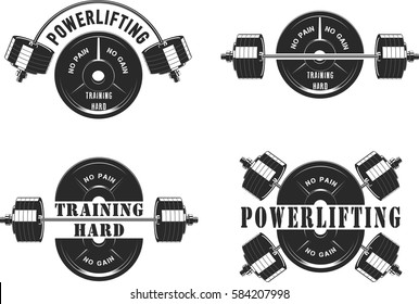 Vector illustration, Icons for the gym and powerlifting, on a white background, silhouette