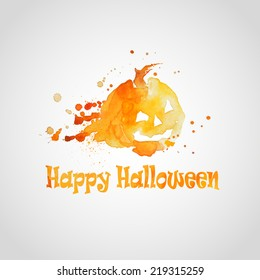 vector illustration of icons of Halloween with the effect watercolor