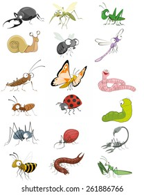 Vector illustration of an icons insects set