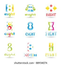 Vector illustration of Icons for number eight isolated on white background