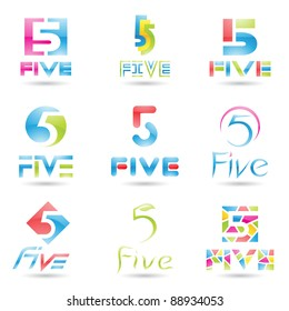 Vector illustration of Icons for number five isolated on white background