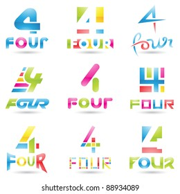 Vector illustration of Icons for number four isolated on white background