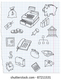 Vector illustration of icons on the economy