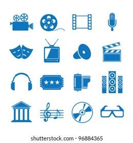 Vector illustration icons on Film