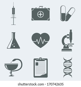 Vector illustration of icons on a theme medicine