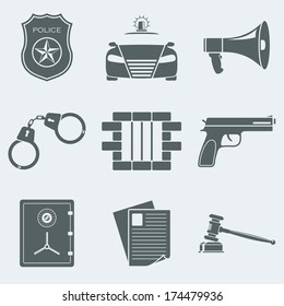 Vector illustration of icons on a theme of police