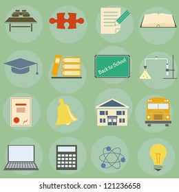Vector illustration of icons on the topic of school