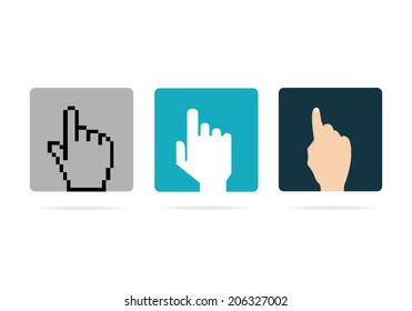 Vector illustration of icons with pointers hands