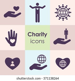 vector illustration / icons set / charity