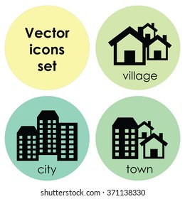 vector illustration / icons set / city town and village