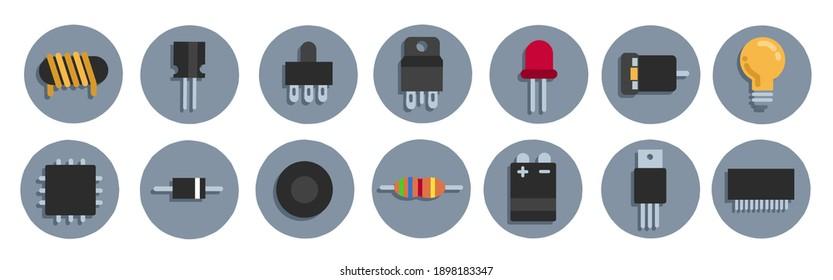 vector illustration of icons, symbols, electronic components.  minimalist flat.  for electronics.