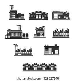 A vector illustration of icons that represent heavy industry.  Industrial Factories and warehouse icon set illustration.  Industrial buildings silhouette Icons.