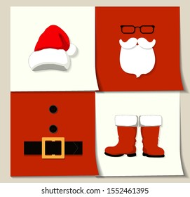 A vector illustration icons of white and red Santa Сlause hat, beard, glasses, belt, buttons, and boots put on seperate square stickers