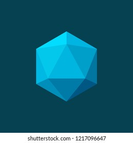 Vector illustration of icosahedron on blue background. Plane colors