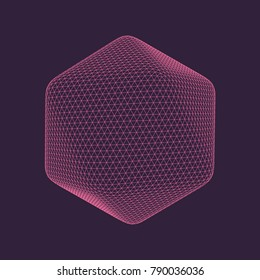 Vector illustration of Icosahedron â?? regular platonic solid figure. Three-dimensional transparent object. Abstract polygonal shape and simple geometric form. Isolated on colored background.
