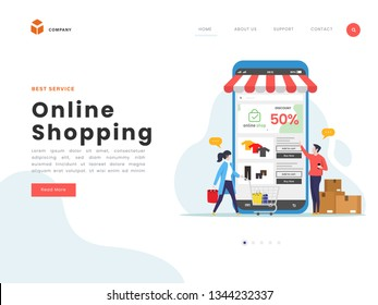 Vector Illustration idea concept for landing page template, various shops, discounts, purchase of goods and gifts, shopping concept and delivery of goods through online. Flat Gradient Styles