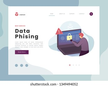 Vector Illustration idea concept for landing page template,Phising attack, hacker stealing personal internet security data, a man trying to open the password code. Flat Gradient Styles