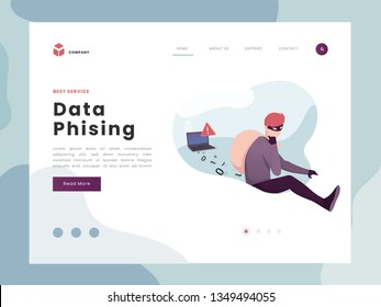Vector Illustration idea concept for landing page template, Phising attack, hacker stealing personal internet security data, a man running away with code. Flat Gradient Styles