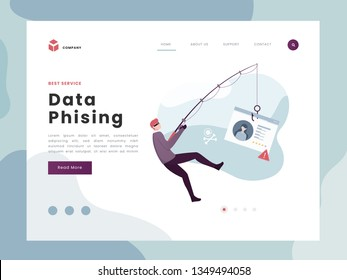 Vector Illustration idea concept for landing page template,Phising attack, hacker stealing personal internet security data, a man breaking code. Flat Gradient Styles