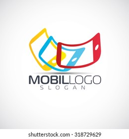 vector illustration of the idea for the logo salon phones and mobile network smartphone sales, graphic design for companies