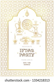 Vector illustration for Iftar party celebration. Gold card with lantern, arabic coffee mug, hookah, stars, arch. Invitation for Muslim feast of the holy of Ramadan month. Illustration.