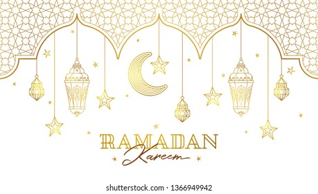 Vector illustration for Iftar party celebration. Gold cards with arabic lanterns, stars, crescent, arch. Invitation for Muslim feast of the holy of Ramadan month. Islamic illustration.