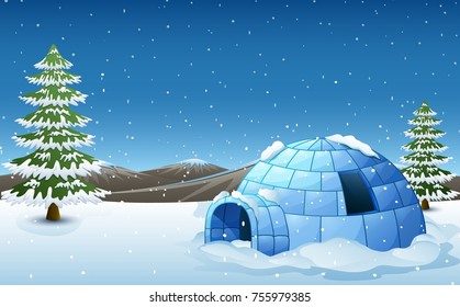 Vector illustration of Igloo with fir trees and mountains in winter illustration