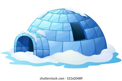 Vector illustration of Igloo isolated a white background