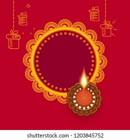Vector illustration of Illuminated / burning oil line art decorated floral diya on Diwali Holiday, ancient Hindu festival of lights, Original calligraphic inscription of Happy Deepavali  stylish text.